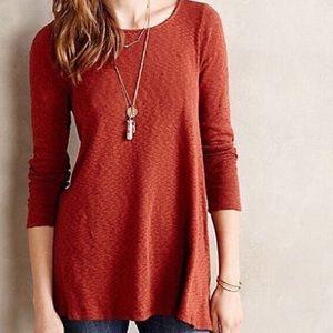Anthro Puella RustOrange Asymmetrical Knit Sweater